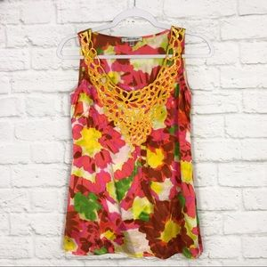 Beth Bowley Silk Floral Sequined Neckline Blouse 2